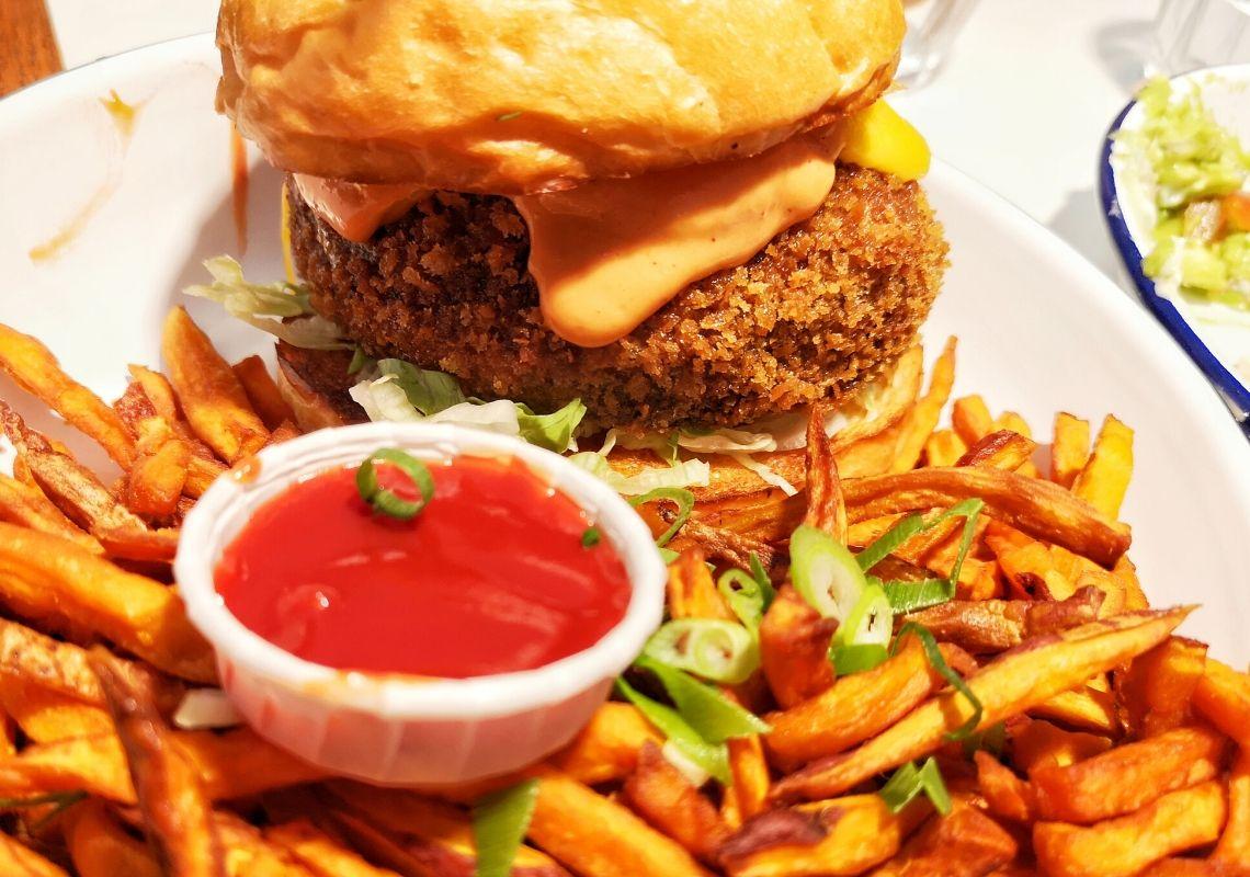 Portobello mushroom burger close up