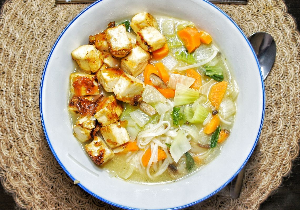 Close up tofu soup