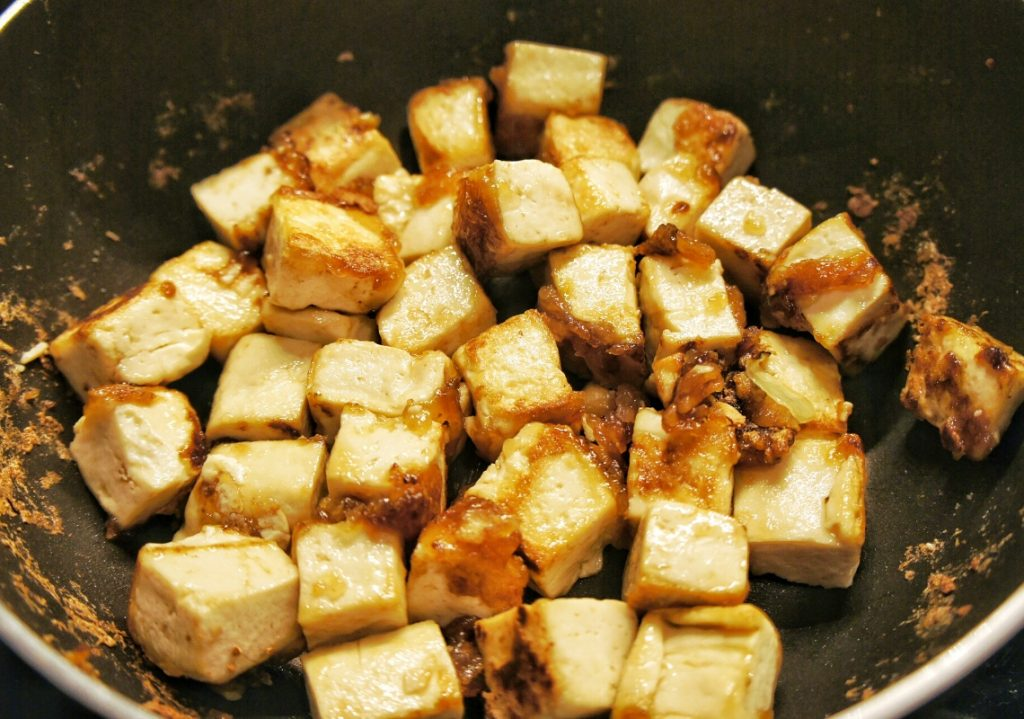 Cooked honey glazed tofu