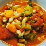 Close up of the white beans tomato soup