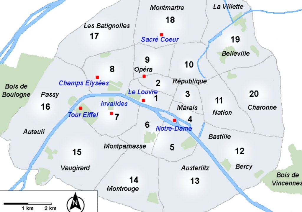 Map of Paris arrondissements to find cheap restaurants in Paris