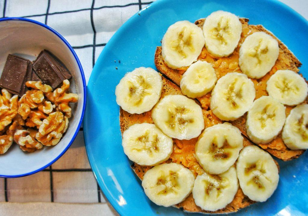 Close up peanut butter and banana toast