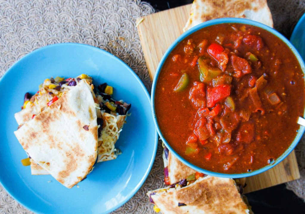 Close up of the salsa and the quesadillas