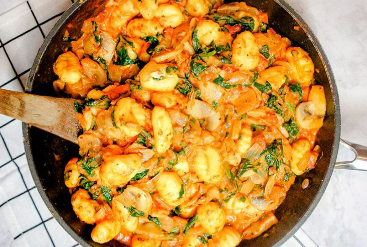 Close up above pic Single serving of the gnocchi spinach casserole