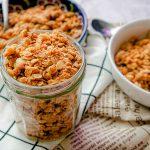 Focus on the jar of vegan granola