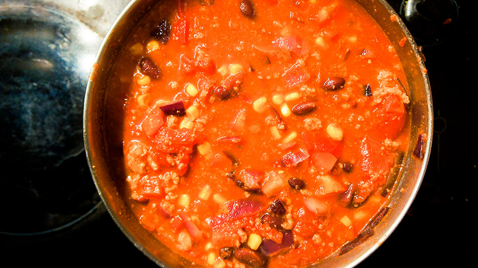 Cooking pot of chili con carne