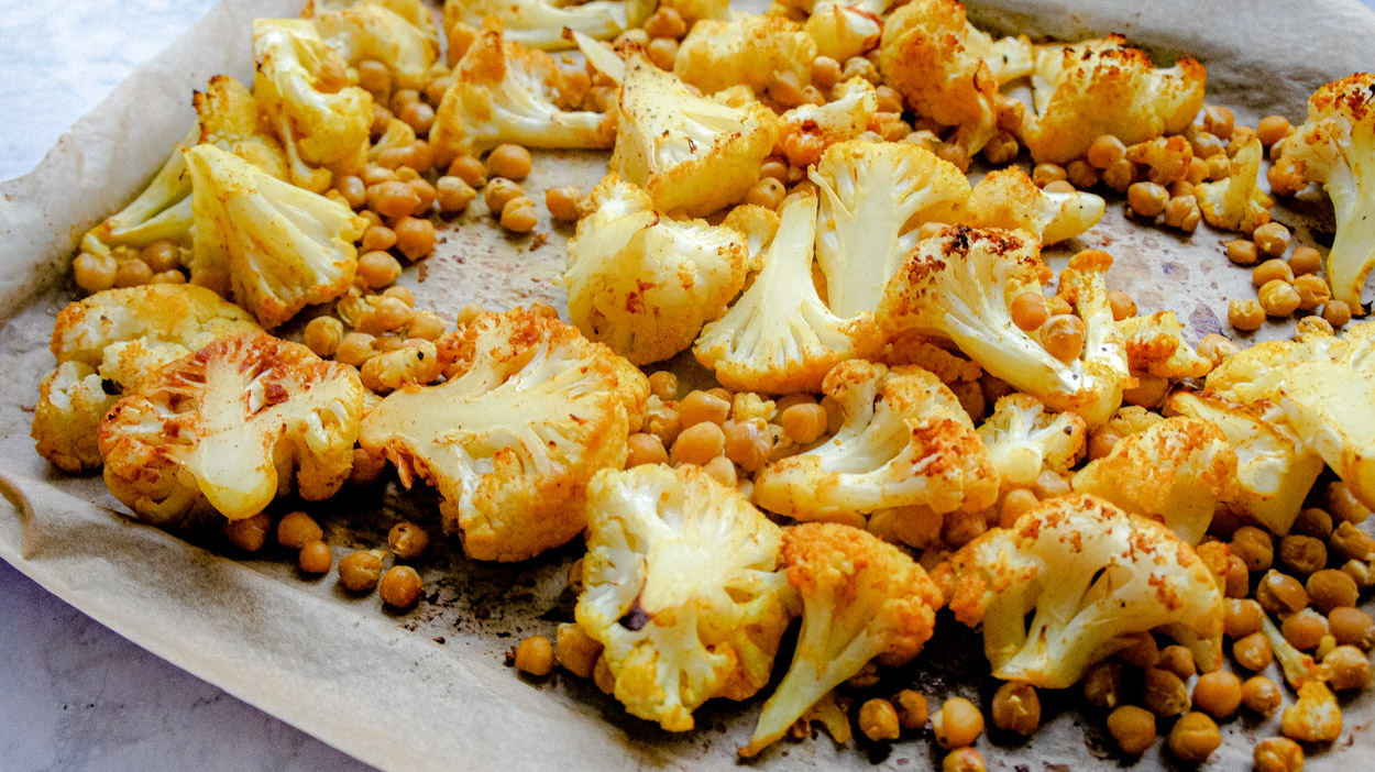 Close up of roasted cauliflower and chickpeas recipe