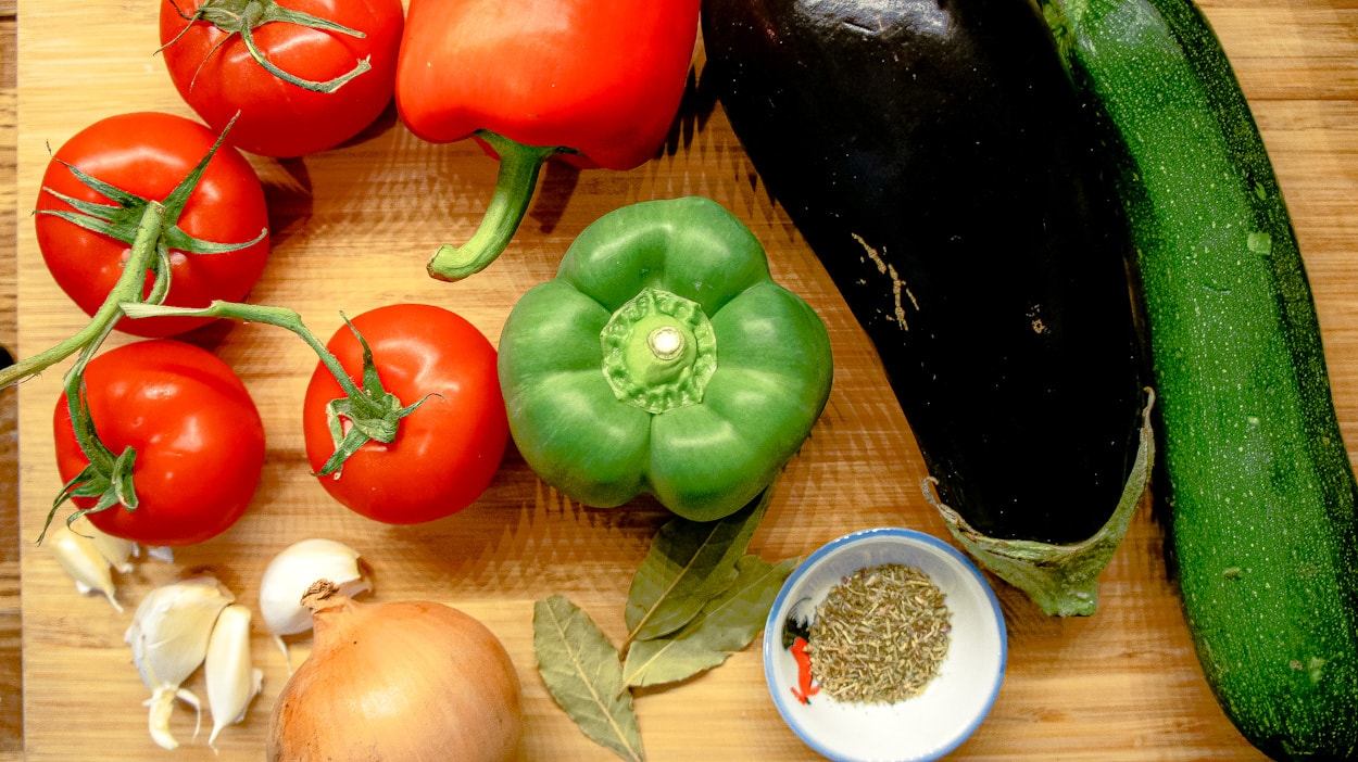 Ingredients to make a traditional ratatouille recipe