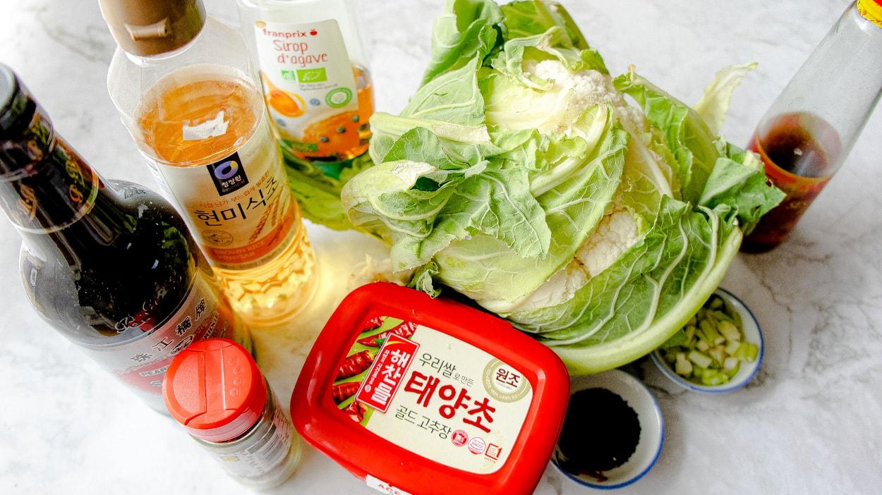 focus on ingredients vegan cauliflower dak galbi