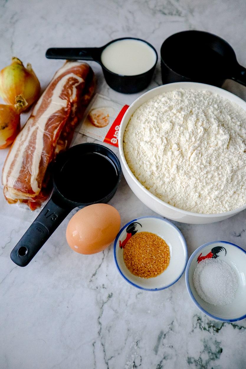 Ingredients to make homemade smokey buns